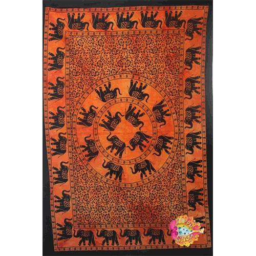 pano-mantili elefantes portokali-mauro